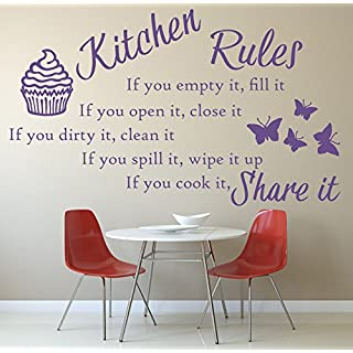 Kitchen Rules Quote, Vinyl Wall Art Sticker. Mural, Decal. Home, Wall Decor. Family Quote