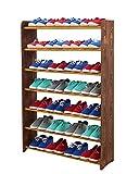 Schuhregal Schuhschrank Schuhe Schuhständer RBS- 7-90 (Seiten dunkelbraun, Stangen in der Farbe erle)