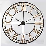 Angelxue Kreative Schmiedeeisen-Wanduhr, Hauptwohnzimmer Europäische Wanduhr, DIY Metallhohlrunde Uhr, 80CM