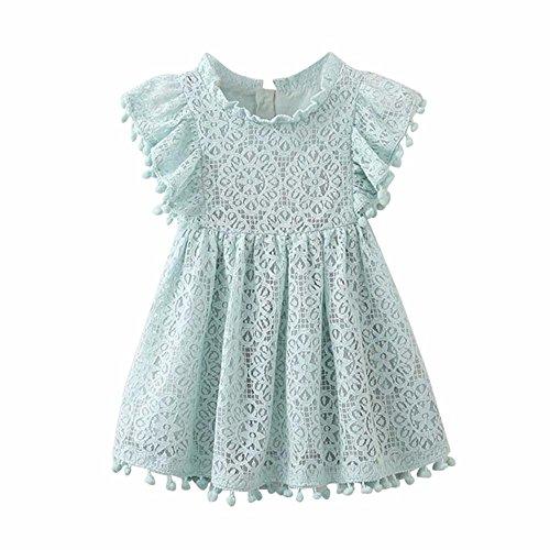 Lenfesh Baby Mädchen Elegant Kurzarm Spitze Prinzessin Kleider Sommer Kleider für Kleinkinder Kinder (100cm/ 24 Monate, Hellblau)