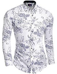 D&R Fashion Cipo & Baxx White Men's Casual Shirt Flower Pattern Roll-up Sleeve Cotton Slim