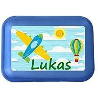 wolga-kreativ Brotdose Lunchbox mit Name Flugzeug und Wunschmotiv mit Trennsteg Viele Motive preisvergleich bei kinderzimmerdekopreise.eu