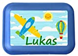 wolga-kreativ Brotdose Lunchbox mit Name Flugzeug und Wunschmotiv mit Trennsteg Viele Motive