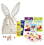 Organic Fruit & Dairy Free Chocolate Snacks by The Yummy Palette | Scrummy Moo Free Chocolates Sweet & Simple YumEarth Fruit Snacks Lollipops | 15 vegan sweets in hand embroidered Bunny Bag