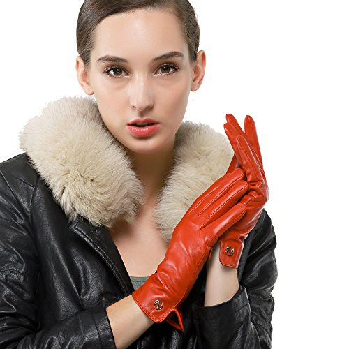 Nappaglo Damen Italienisches Lammfell Leder Handschuhe Touchscreen Winter Warm Langes Fleecefutter Handschuhe (L (Umfang der Handfläche:19.0-20.3cm), Rot(Non-Touchscreen))