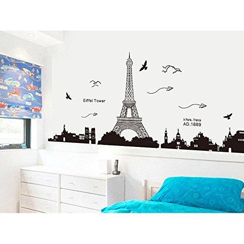 Pegatina de pared vinilo adhesivo decorativo para cuartos,  dormitorio, cocina,  ... vista de Paris Torre Eiffel Color Negro OPEN BUY
