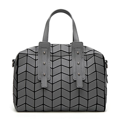 2017 Geometrisch Lingge Kissenbeutel Große Kapazität Schulter Tragbar Messenger Tasche Handtaschen Mode Einfach Personalisiert Mehrfarben- Einstellbarer Schultergurt LightGray