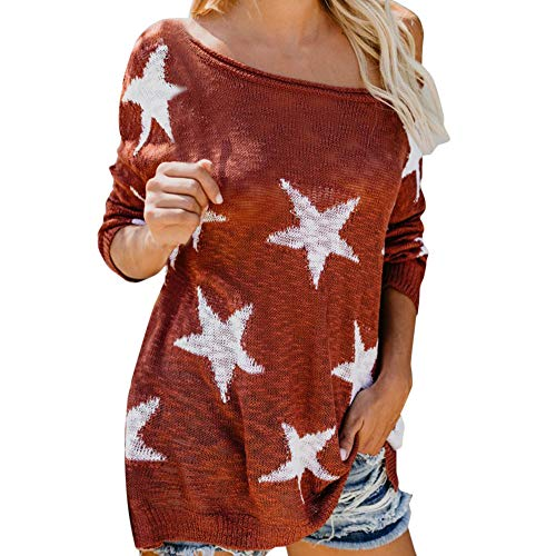 Elecenty manica lunga da donna stampa star t shirt o neck lace up loose blouse tops t-shirt casuale