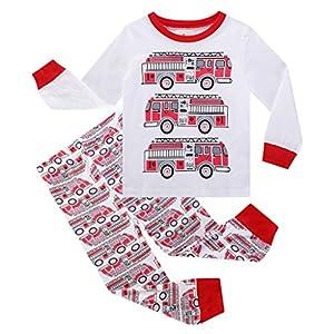 Conjunto de Pijama con Estampado de Coche para Niños Ropa de Hogar Cómoda de Algodón Primaveral para Niños Top de Algodón de Manga Larga En Color Liso Pantalones Sueltos a Rayas 14