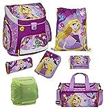 Disney Princess Rapunzel Prinzessin Schulranzen Set 7tlg. mit Federmappe gefüllt und Sporttasche Scooli Campus Up RAVT8252