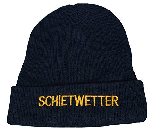 Maritime Strickmütze Mütze mit Schriftzug 'Schietwetter' blau One Size