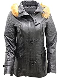 Women's Detachable Hood Quilted Black Leather Parka Jacket
