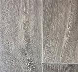 PVC Vinyl-Bodenbelag modern geriffelte Holzoptik Grau-Braun | PVC-Belag verfügbar in der Breite 4 m & in der Länge 4,5 m | CV-Boden wird in benötigter Größe als Meterware geliefert | rutschhemmend