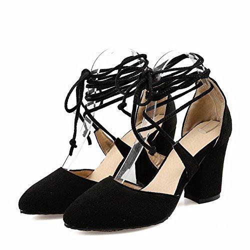 Voguezone009 Femme Bout Fermé Chaussures En Plastique Bout Pointu À Talons Hauts Attacher Les Ballerines Noires Pures