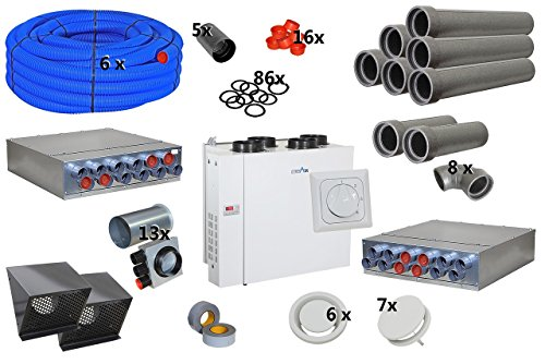 Selfio-Set zentrale Lüftungsanlage bis 150 m² mit Gerät, rechts, 4-Stufenschalter DN 50