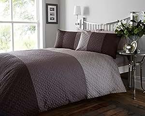 g om trique effet matelass marron taupe et beige parure de lit housse de couette pour lit. Black Bedroom Furniture Sets. Home Design Ideas