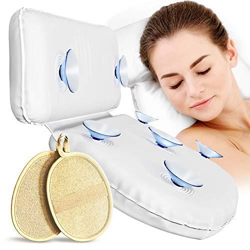 Pumpko® Badewannenkissen mit 7 Saugnäpfen für Badewanne Spa Whirlpool | Komfort Wannenkissen in Weiß | Inkl. 2 Peeling Pads & Wellness Guide | Ideales Badewannenkopfkissen