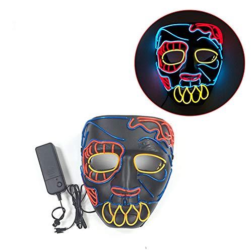 Kostüm Für Bemalen Gesicht - Bearn Halloween-Party Kühle EL-Kaltlichtmaske Vollgesichts-Clown Cosplay Lustige Horror LED Leuchtmaske