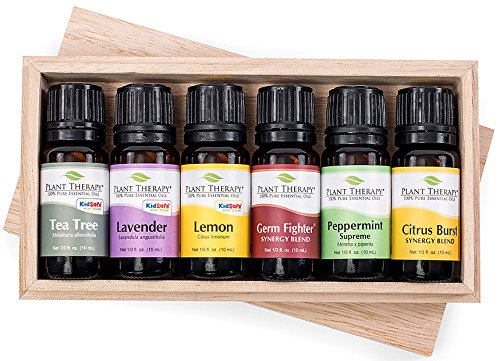 Spring Cleaning Wooden Box Gift Set Contains: Tea Tree, Lavender, Lemon, Citrus Burst, Germ Fighter and Peppermint- 10 ml each by Plant Therapy Essential Oils