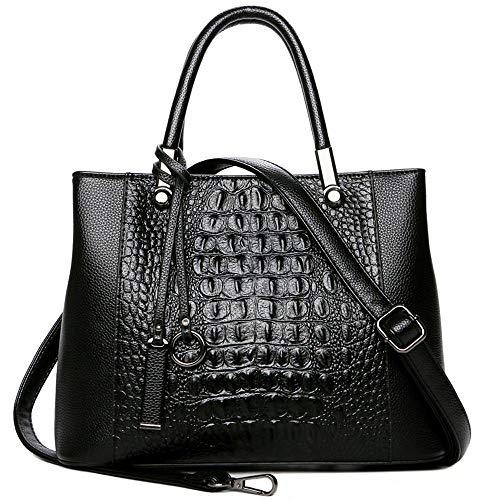 Krokoprägung Mode Handtasche Mit Anhänger Frauen Leder Geldbörse Handtasche Für Dame Schultasche Geldbörse Black-31x 13 x 23cm - Neue Schwarze Damen-tote