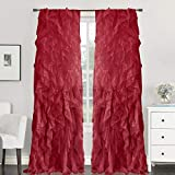 """Sweet Home Collection 1 Pack Window Treatment Sheer Cascading Panel Vertical Ruffled Curtains in Many Sizes and Colors, 84"""" x 50"""", Spice"""