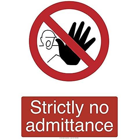 No Entry laminato sicurezza autoadesivo adesivo etichetta 200mm x 150mm
