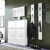 Garderoben Set Hochglanz weiß Schuhschrank Wandpaneele Spiegel Flurgarderobe Diele Flurmöbel B x H x T ca. 166 x 199 x 30cm