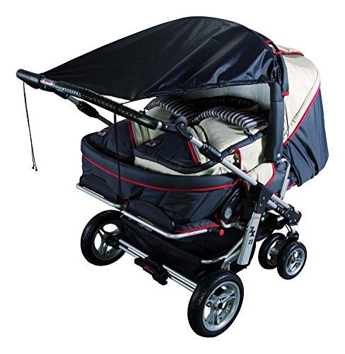 sunnybaby 11270 - Universal Sonnensegel für ZWILLINGS-Kinderwagen & Zwillingsportwagen | höchster UV Schutz UPF 50+ | verstellbar | Markisen-Rollofunktion - Farbe: SCHWARZ | Qualität: MADE in GERMANY