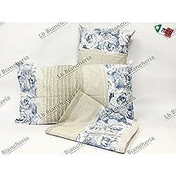 272670f146 Completo Lenzuola Romantica Shabby chic GRIGIO-BLUETTE - Prezioso cotone  Made in Italy trama fitta