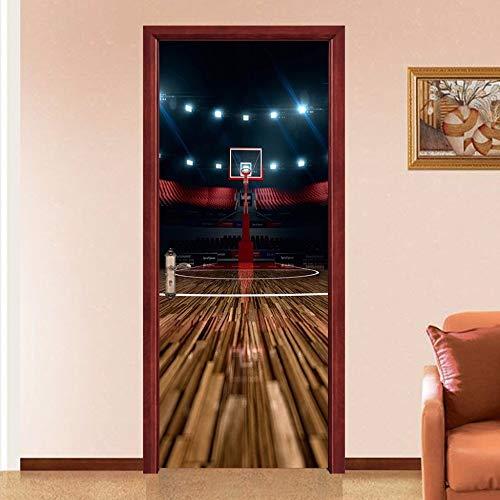 CCNIU 3D Tür Aufkleber, Basketball Platz Persönlichkeit DIY Wandaufkleber Selbstklebend Entfernbar Wasserdicht PVC Wandgemälde Zuhause Dekoration Glas Tür Wand Renovierung, 77 * 200CM