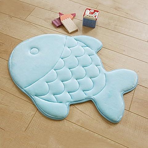 HAPLY Non-slip Soft Kid Bedroom Livingroom Mat Rug Comfortable Fish Shape Pattern 15 x 47 inch-(Blue)