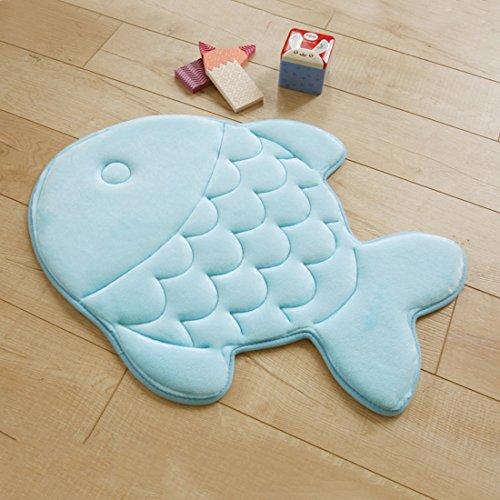 Haply tappetino antiscivolo morbido Kid camera da letto soggiorno confortevole a forma di pesce modello 38,1x 119,4cm, Memoria di forma, Blue, FISH