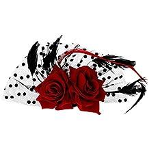 Pixnor Fascinator pelo Clip tocado de novia rojo rosa flor puntos pinza de pelo de la pluma