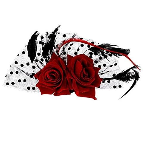 NUOLUX Bridal Fascinator rote Rose Blume Punkte Haar Clips Kopfbedeckung Hochzeit Zubehör (rot)