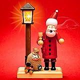 Sikora RM-A-LED Holz Räuchermännchen mit batteriebetriebener beleuchteter LED Laterne, Farbe/Modell:A24 Weihnachtsmann mit LED Laterne;Größe:Höhe ca. 18.5 cm