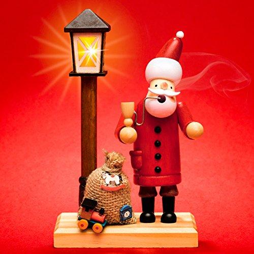 Sikora RM-A-LED Holz Räuchermännchen mit batteriebetriebener beleuchteter LED Laterne, Farbe/Modell:A24 Weihnachtsmann mit LED Laterne;Größe:Höhe ca. 18.5 cm -