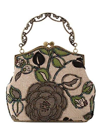 Urban GoCo Donna Vintage Perline Portafogli Frizione Tracolla Borsa Sera Borsetta per Nozze Prom Banchetto Multicolore - Nero