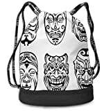 Cupsbags Japanese Nogaku Theatrical Masks Partying Drawstring Bag Backpack Bundle Backpack
