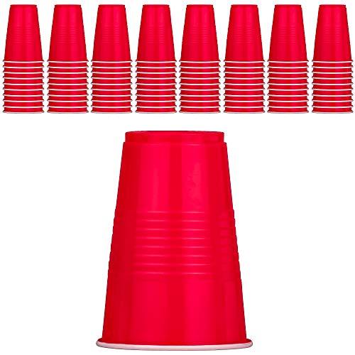DecorRack Partybecher, 454 ml, BPA-frei, aus Kunststoff, ideal für Geburtstag, Picknick, Innen- und Außenveranstaltung, stapelbar, wiederverwendbar, runde Einweg-Trinkbecher rot
