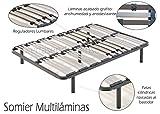 Somier multiláminas con reguladores lumbares-135x190cm-PATAS 32CM (5 patas incluidas)