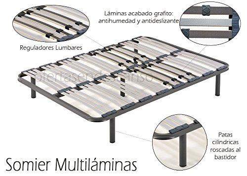 HOGAR24 Somier multiláminas con reguladores lumbares-135x190cm-PATAS 32CM (5 Patas Incluidas)