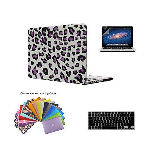 Macbook Pro 15 Retina Hülle,TECOOL [Ultra Slim Serie] Plastik Hartschale Schutzhülle Snap Case,Silicon Tastatur Abdeckung und Schirm Schutz Tasche Cover Zubehör für Apple MacBook Pro 15.4 Zoll- Lila Leopard