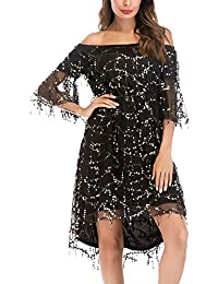 Vestiti Donna Cerimonia Elegante Estivi Manica A 3 4 Spalla Di Parola  Fashionable Completi Partito Paillettes… 0376fa3bdfb