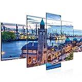 Runa Art Bilder Hamburg Wandbild 200 x 100 cm Vlies - Leinwand Bild XXL Format Wandbilder Wohnzimmer Wohnung Deko Kunstdrucke Blau 5 Teilig - Made in Germany - Fertig Zum Aufhängen 603051a