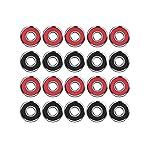 20 Pieces Skateboard Bearings Longboard Bearings Roller Skate Bearings 608 2RS, Double Shielded, Red and Black
