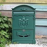 CXQ Europäischen Villa Briefkasten Im Freien Wasserdichte Brief Box Wand Kreative Briefkasten Vorschlag Box Retro Briefkasten Mit Schloss (Color : Shawen Green)