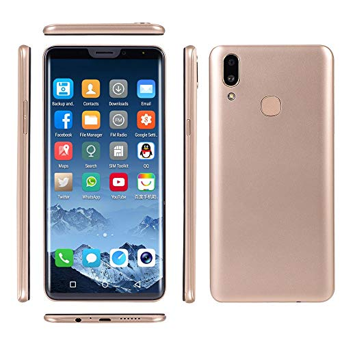 Oasics Smartphone, Neue Art und Weise 6,1 Zoll Doppel-HDCamera Smartphone Androides IPS GSM/WCDMA 4GB Touch Screen WiFi Bluetooth GPS 3G Anruf-Handy (Gold)