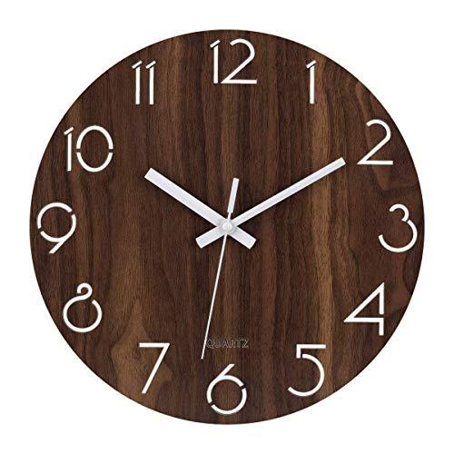 Foxtop 12-Zoll-Stille, Nicht kitzelnde Wanduhr Digitale ruhige Sweep dekorative Vintage rustikale Land toskanischen Stil Holzuhren (batteriebetrieben, hohlen arabischen Ziffern Design)