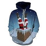 Leapparel Weihnachts Hoodie Unisex Weihnachtsmann im Schornstein 3D Grafikdruck-Lange Hülse Kapuzenpulli Pullover Jumper für Teens Blau