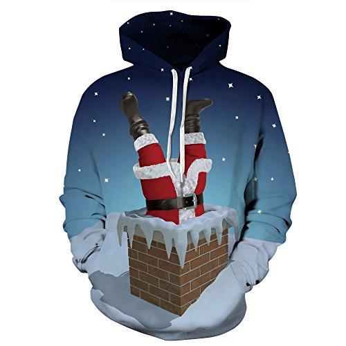 Unisex Sweatshirt für Weihnachten, 3D invertiert Santa Digital Print Weihnachten Hoodie Pullover Paar Kostüm Kostüm,L/XL (Pullover Weihnachten Paar)